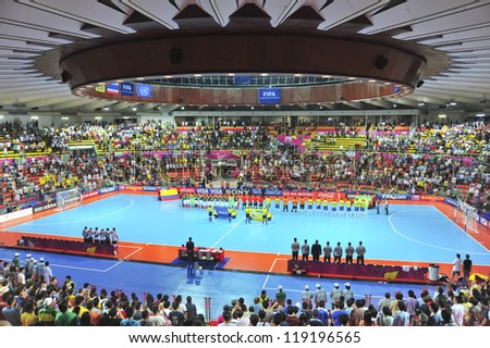 BANGKOK, THAILAND - NOV 16:A general view prior of Indoor Stadium Huamark before FIFA Futsal World Cup, between Brazil and Colombia at Indoor Stadium Huamark on November 16, 2012 in Bangkok, Thailand.