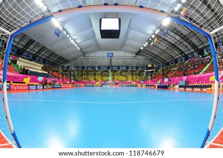 BANGKOK, THAILAND - NOV 11: A general view prior of Nimibut Stadium before the FIFA Futsal World Cup between Thailand (R) and Spain (B) at Nimibutr Stadium on November 11, 2012 in Bangkok, Thailand.