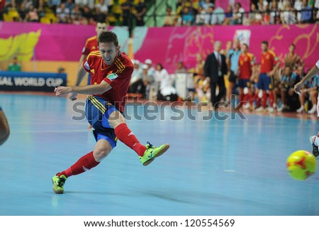 BANGKOK, THAILAND - NOV 14:Alemao of Spain (r) in action during the FIFA Futsal World Cup Quarterfinal Round between Spain and Russia at Nimibutr Stadium on Nov14,2012 in Bangkok, Thailand.