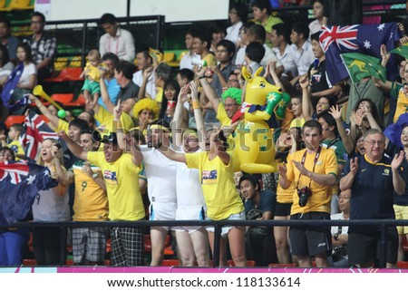 BANGKOK, THAILAND - NOV 5 : Fan Club of Australia in FIFA Futsal World Cup thailand 2012 Between Mexico (B) VS Australia (Y) on November 5, 2012 at Nimibutr Stadium in Bangkok Thailand.