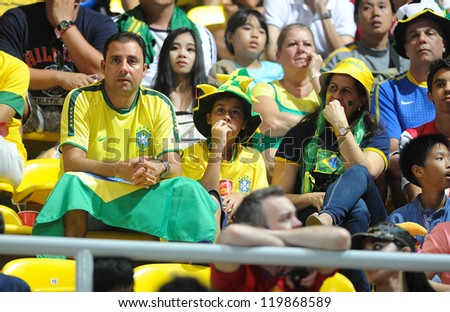 BANGKOK, THAILAND - NOV 18 : Fans of Brazil Futsal in FIFA Futsal World Cup thailand 2012 Between Spain (R) VS Brazil (Y) on November 18, 2012 at Indoor Stadium Huamark in Bangkok Thailand.