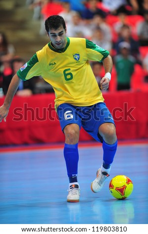 BANGKOK, THAILAND - NOV 14: Gabriel player of Brazil in FIFA Futsal World Cup between Argentina (B) and Brazil (Y) at Indoor Stadium Huamark on November 14, 2012 in Bangkok, Thailand.