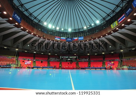 BANGKOK, THAILAND - NOV 12 :Indoor Stadium Huamark, FIFA Futsal World Cup between Russia and Czech Republic at Indoor Stadium Huamark on November 12, 2012 in Bangkok, Thailand.