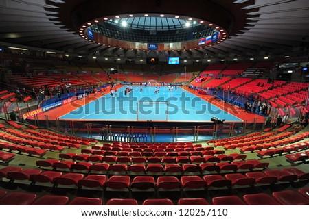 BANGKOK, THAILAND - NOV 12 :Indoor Stadium Huamark, FIFA Futsal World Cup between Russia and Czech Republic at Indoor Stadium Huamark on November 12, 2012 in Bangkok, Thailand.