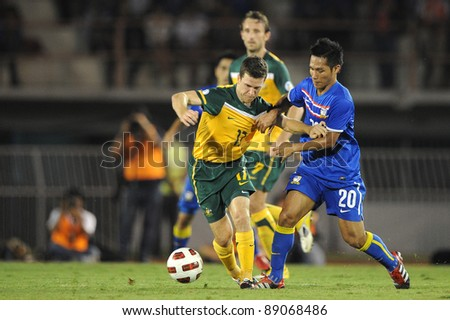 BANGKOK THAILAND - NOV 15:Matt McKay of Australia  in action during The FIFA WORLD CUP 2014 between Thailand(B) and Australia (Y) at Supachalasai Stadium on Nov 15, 2011 Bangkok, Thailand.