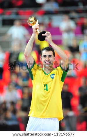 BANGKOK, THAILAND - NOV 18: Neto of Brazil is seen with the adidas Golden Ball Award after the FIFA Futsal World Cup Final at Indoor Stadium Huamark on November 18, 2012 in Bangkok, Thailand.