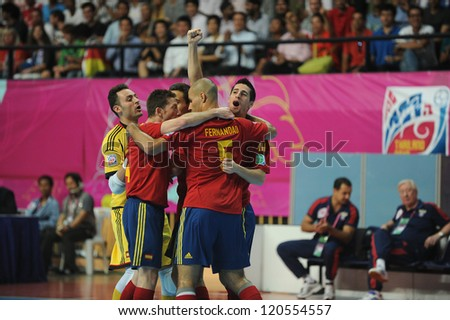 BANGKOK,THAILAND - NOV14:Spain celebrates after scoring during the FIFA Futsal World Cup Quarterfinal Round between Spain and Russia at Nimibutr Stadium on Nov14,2012 in Bangkok, Thailand.