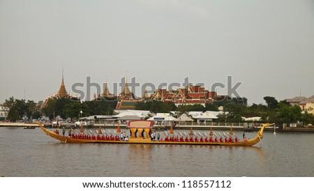 BANGKOK THAILAND - NOV 2,2012: the water-born  Royal  Kathin  Procession  will  consist  of  a  52 traditional style barges arranged in  5 columns on November 2,2012 at  Bangkok  Thailand