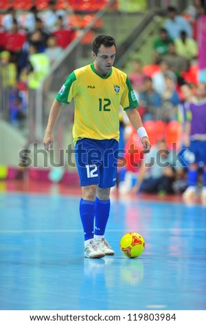 BANGKOK, THAILAND - NOV 14: Unidentified player in FIFA Futsal World Cup Quarter-Final match between Argentina (B) and Brazil (Y) at Indoor Stadium Huamark on November 14, 2012 in Bangkok, Thailand.