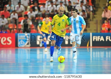 BANGKOK, THAILAND - NOV 14: Unidentified players in FIFA Futsal World Cup Quarter-Final match between Argentina (B) and Brazil (Y) at Indoor Stadium Huamark on November 14, 2012 in Bangkok, Thailand.