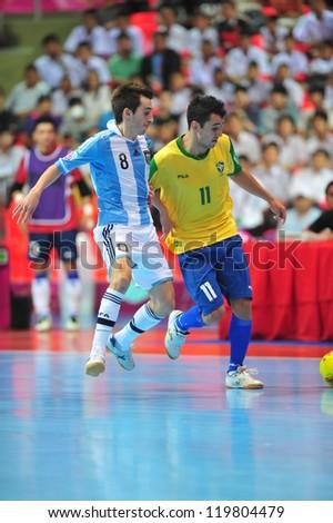 BANGKOK, THAILAND - NOV 14: Unidentified players in FIFA Futsal World Cup Quarter-Final match between Argentina (B) and Brazil (Y) at Indoor Stadium Huamark on November 14, 2012 in Bangkok, Thailand.