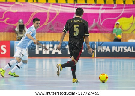 BANGKOK, THAILAND - NOV 2 : Unidentified players in FIFA Futsal World Cup thailand 2012 Between Argentina (Blue) VS Mexico (Black) on November 2, 2012 at Nimibutr Stadium in Bangkok Thailand.
