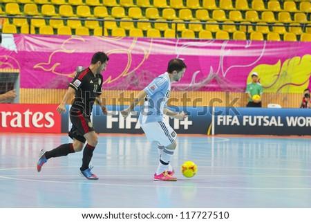 BANGKOK, THAILAND - NOV 2 : Unidentified players in FIFA Futsal World Cup thailand 2012 Between Argentina (Blue) VS Mexico (Black) on November 2, 2012 at Nimibutr Stadium in Bangkok Thailand.