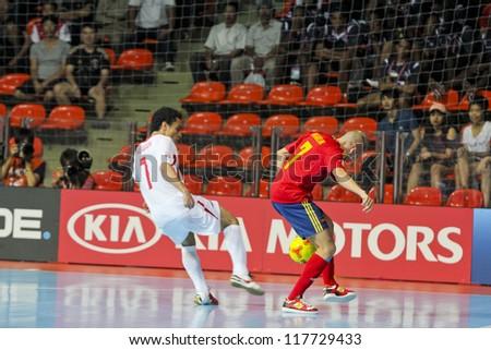 BANGKOK, THAILAND - NOV 2 : Unidentified players in FIFA Futsal World Cup thailand 2012 Between Spain (R) VS Iran (W) on November 2, 2012 at Indoor Stadium Huamark in Bangkok Thailand.