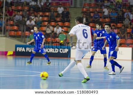 BANGKOK, THAILAND - NOV 1 : Unidentified players in FIFA Futsal World Cup thailand 2012 Between Thailand (B) VS Costa Rica (W) on November 1, 2012 at Indoor Stadium Huamark in Bangkok Thailand.