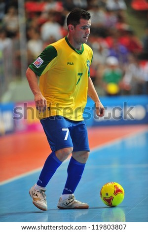 BANGKOK, THAILAND - NOV 14: Vinicius player of Brazil in FIFA Futsal World Cup between Argentina (B) and Brazil (Y) at Indoor Stadium Huamark on November 14, 2012 in Bangkok, Thailand.