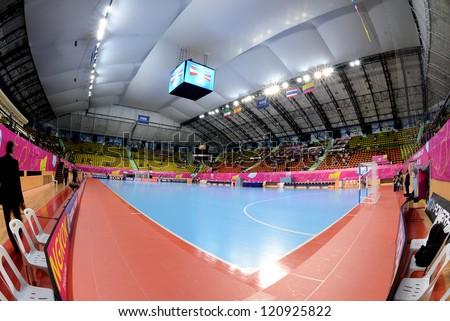 BANGKOK,THAILAND-NOVEMBER 11: A general view of the stadium during  the FIFA Futsal World Cup between Thailand and Spain at Nimibutr Stadium on Nov11, 2012 in Bangkok, Thailand.
