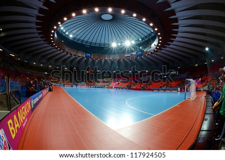 BANGKOK,THAILAND-NOVEMBER 3:A general view prior of Indoor Stadium Huamark before the FIFA Futsal World Cup match between Czech Republic and Kuwait at Indoor Stadium Huamark on Nov3,2012 in Thailand.