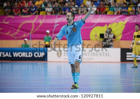 BANGKOK, THAILAND - NOVEMBER 11: Alvaro of Spain in action during the FIFA Futsal World Cup  between Thailand and Spain at Nimibutr Stadium on Nov11, 2012 in Bangkok,Thailand.