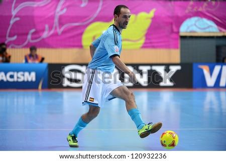 BANGKOK, THAILAND - NOVEMBER 11: Alvaro of Spain in action during the FIFA Futsal World Cup  between Thailand and Spain at Nimibutr Stadium on Nov11, 2012 in Bangkok,Thailand. - stock photo