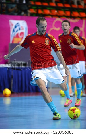 BANGKOK, THAILAND - NOVEMBER 11:Alvaro of Spain warms up ahead during the FIFA Futsal World Cup  between Thailand and Spain at Nimibutr Stadium on Nov11, 2012 in Bangkok,Thailand.