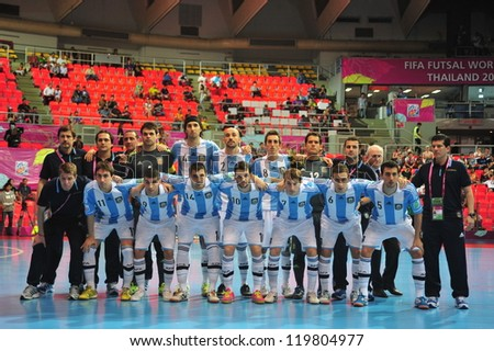 BANGKOK, THAILAND - NOVEMBER 12: Argentina Team in FIFA Futsal World Cup Round of 16 match between Serbia and Argentina at Indoor Stadium Huamark on November 12, 2012 in Bangkok, Thailand.