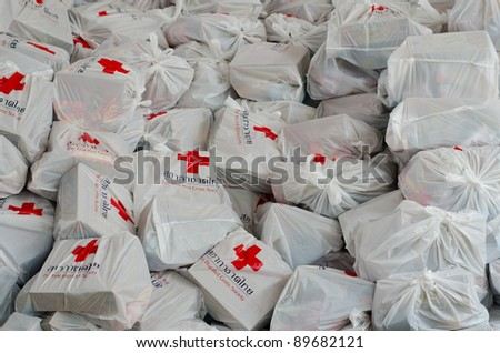 BANGKOK, THAILAND-NOVEMBER 27: Bags of Red Cross supplies that are needed to help the victims after the heaviest monsoon rain on November 27, 2011 , Red Cross Bangkok, Thailand.