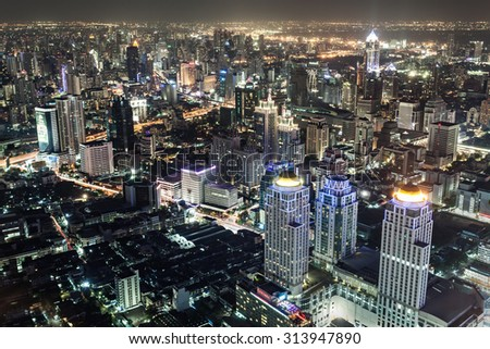 BANGKOK, THAILAND - NOVEMBER 09, 2014: Bangkok night view from Baiyoke Tower, Thailand #313947890