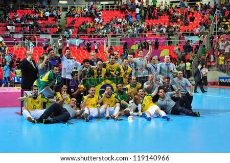 BANGKOK, THAILAND - NOVEMBER 18: Brazil winning the FIFA Futsal World Cup Final at Indoor Stadium Huamark on November 18, 2012 in Bangkok, Thailand.