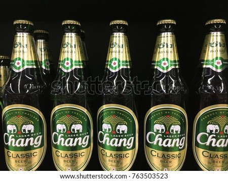 "Bangkok , Thailand - November 27,2017 - ""Chang Beer"" Beer From ThaiBev Is Thailand's Largest Beverage Companies Displayed On Supermarket Shelf , Thailand - Editorial Use Only."