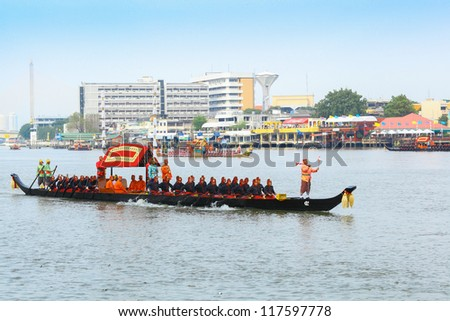 "BANGKOK,THAILAND-NOVEMBER 2: ""Dang 5 ship"" was set for the dress rehearsal of the Royal Barge Procession for the Royal Kathin Ceremony at Chaopraya river on November 2,2012 in Bangkok,Thailand"