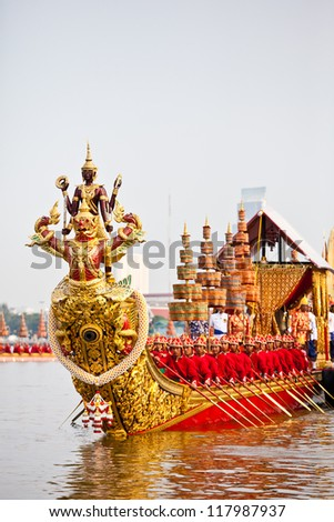 BANGKOK,THAILAND-NOVEMBER 6:Decorated barge parades past the Grand Palace at the Chao Phraya River during rehearsal of Royal Barge Procession on Nov. 6, 2012. in Bangkok, Thailand