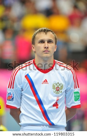 BANGKOK, THAILAND - NOVEMBER 14:Dmitrii Prudnikov of Russia in the FIFA Futsal World Cup between Spain and Russia at Nimibutr Stadium on November 14, 2012 in Bangkok, Thailand.
