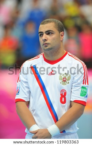 BANGKOK, THAILAND - NOVEMBER 14: Eder Lima of Russia in the FIFA Futsal World Cup between Spain and Russia at Nimibutr Stadium on November 14, 2012 in Bangkok, Thailand.