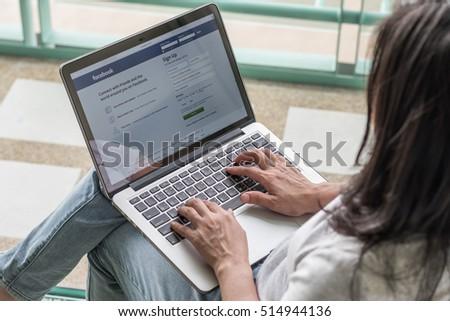 BANGKOK, THAILAND-NOVEMBER 14, 2016: Facebook social network on pc laptop with user sign up or log in registration screen.