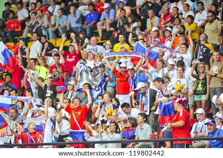 BANGKOK, THAILAND - NOVEMBER 14: Fan Club of Russia in the FIFA Futsal World Cup, Quarter-Final match between Spain and Russia at Nimibutr Stadium on November 14, 2012 in Bangkok, Thailand.