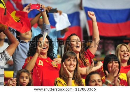 BANGKOK, THAILAND - NOVEMBER 14: Fan Club of Spain in the FIFA Futsal World Cup, Quarter-Final match between Spain and Russia at Nimibutr Stadium on November 14, 2012 in Bangkok, Thailand.