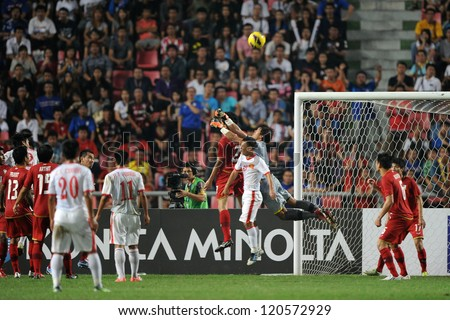 BANGKOK THAILAND-NOVEMBER 30:Goalkeeper Kawin Thammasatchanan of Thailand in action during the AFF Suzuki Cup between Vietnam and Thailand at Rajamangala stadium on Nov30, 2012 in Bangkok,Thailand.