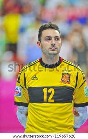 BANGKOK, THAILAND - NOVEMBER 14: Juanjo Players of Spain in the FIFA Futsal World Cup, Quarter-Final match between Spain and Russia at Nimibutr Stadium on November 14, 2012 in Bangkok, Thailand.