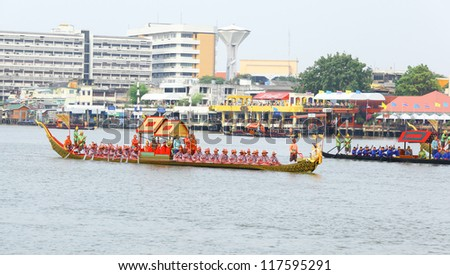 "BANGKOK,THAILAND-NOVEMBER 2: ""Krabi Prabmeungmaan"" was set for the dress rehearsal of the Royal Barge Procession for the Royal Kathin Ceremony at Chaopraya river on November 2,2012 in Bangkok,Thailand"