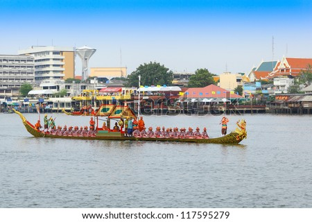 "BANGKOK,THAILAND-NOVEMBER 2: ""Krut Hern Het"" was set for the dress rehearsal of the Royal Barge Procession for the Royal Kathin Ceremony at Chaopraya river on November 2,2012 in Bangkok,Thailand"
