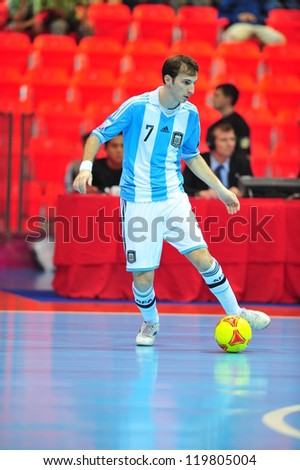 BANGKOK, THAILAND - NOVEMBER 12: Leandro Cuzzolino in FIFA Futsal World Cup Round of 16 match between Serbia and Argentina at Indoor Stadium Huamark on November 12, 2012 in Bangkok, Thailand.