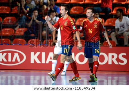 BANGKOK, THAILAND-NOVEMBER 05:Lin (no.11) of Spain celebrates after scoring during the FIFA Futsal World Cup between Spain and Panama at Indoor Stadium Huamark on November 5, 2012 in Bangkok,Thailand.