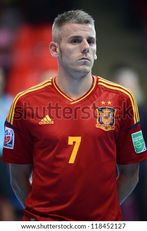 BANGKOK, THAILAND-NOVEMBER 05:Miguelin (red)of Spain flooks on prior to the FIFA Futsal World Cup between Spain and Panama at Indoor Stadium Huamark on November 5, 2012 in Bangkok,Thailand.