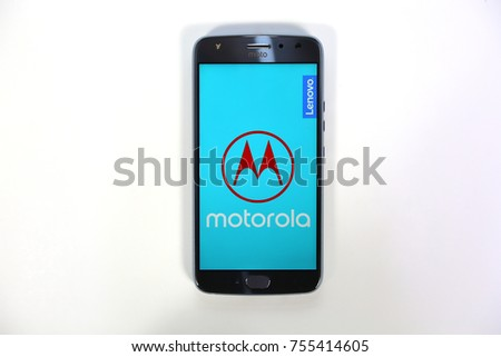 Bangkok, Thailand - November 6, 2017: MOTOROLA X4 new Smartphone with White Blackground. for Editorial.