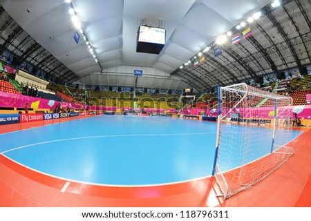 BANGKOK, THAILAND - NOVEMBER 11: Nimibutr Stadium, FIFA Futsal World Cup, Round of 16 match between Thailand (R) and Spain (B) at Nimibutr Stadium on November 11, 2012 in Bangkok, Thailand.