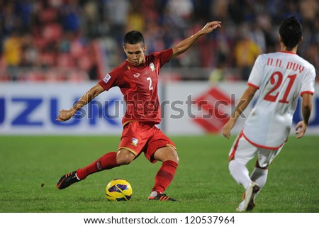 BANGKOK THAILAND-NOVEMBER 30:Panupong Wongsa of Thailand in action during the AFF Suzuki Cup between Vietnam and Thailand at Rajamangala stadium on Nov30, 2012 in Bangkok,Thailand.