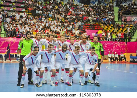 BANGKOK, THAILAND - NOVEMBER 14: Russia Team in the FIFA Futsal World Cup, Quarter-Final match between Spain and Russia at Nimibutr Stadium on November 14, 2012 in Bangkok, Thailand.