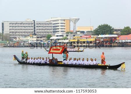 """BANGKOK,THAILAND-NOVEMBER 2: """"Sang 1 ship"""" was set for the dress rehearsal of the Royal Barge Procession for the Royal Kathin Ceremony at Chaopraya river on November 2,2012 in Bangkok,Thailand"""