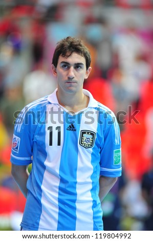 BANGKOK, THAILAND - NOVEMBER 12: Santiago Basile in FIFA Futsal World Cup Round of 16 match between Serbia and Argentina at Indoor Stadium Huamark on November 12, 2012 in Bangkok, Thailand. - stock photo
